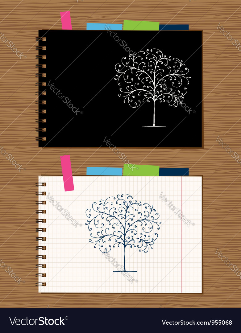 Page Design On Wooden Vector Image