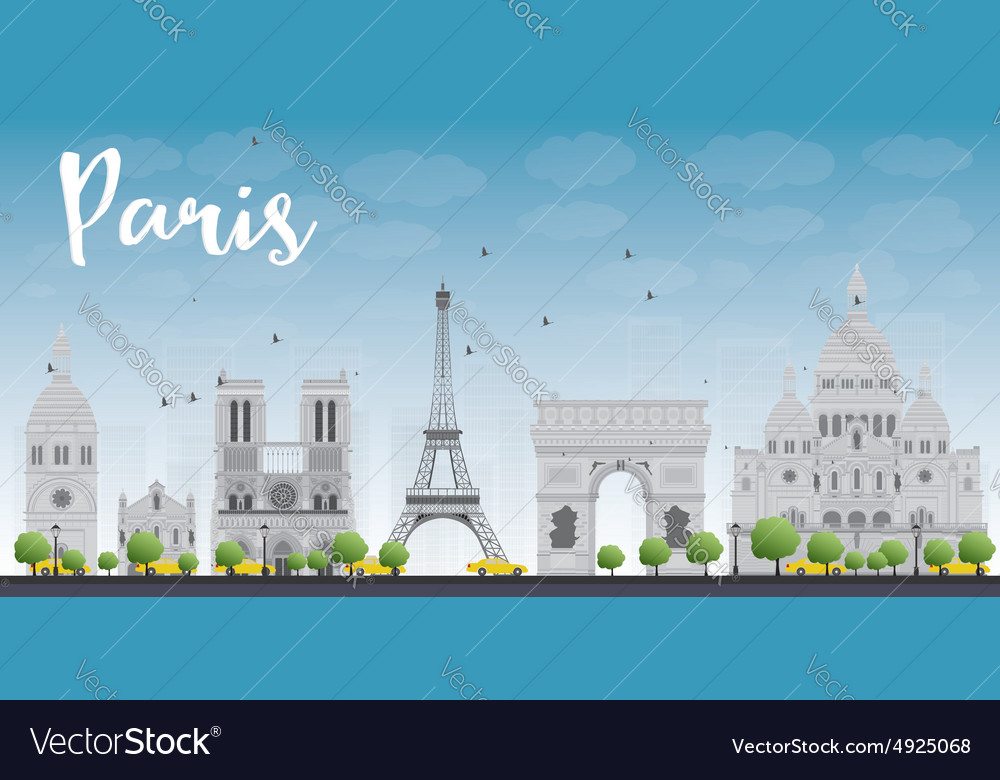 Paris skyline with grey landmarks