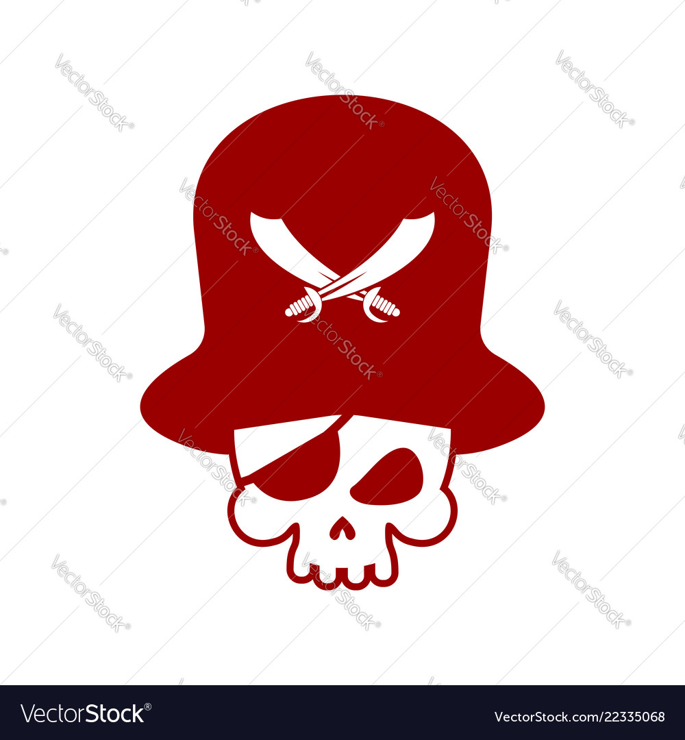 Pirate skull logo head of skeleton and sabers