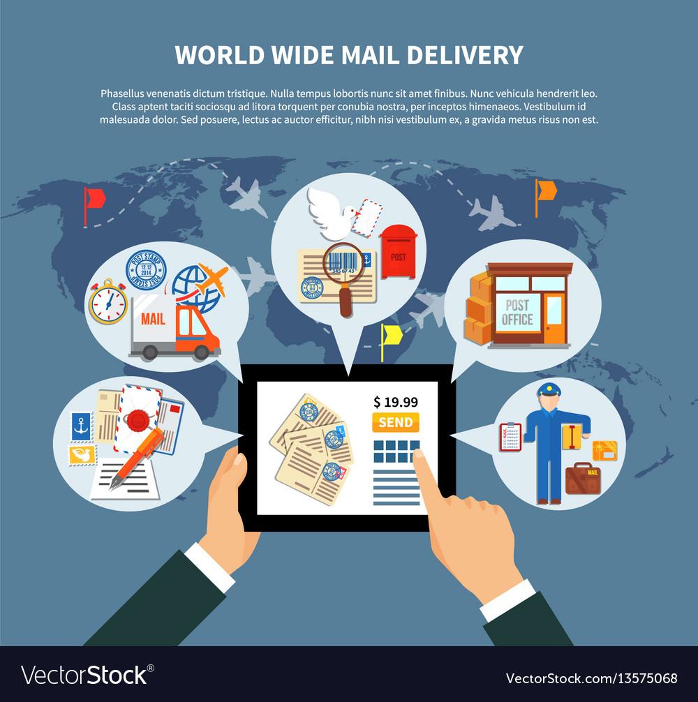 Postal services online design vector image
