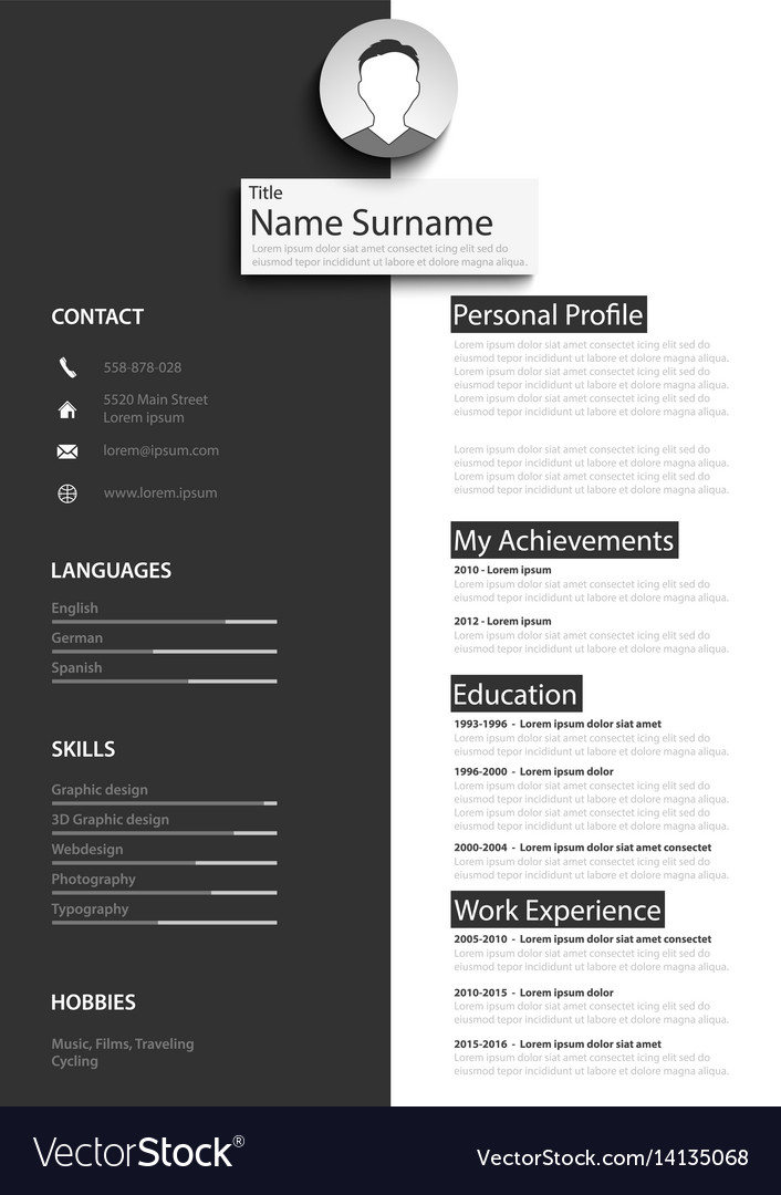 Professional Black White Resume Cv Template Vector Image