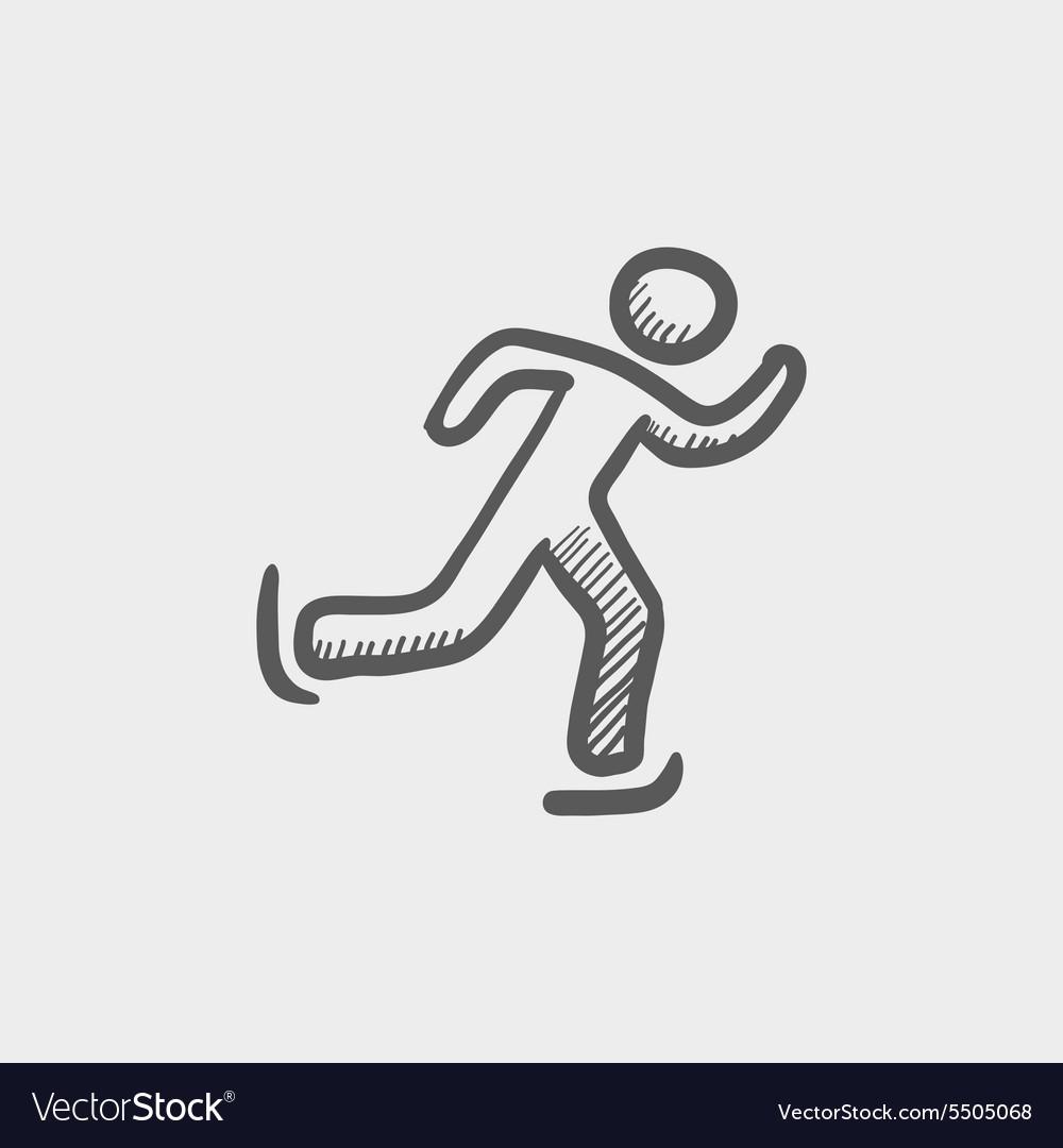 Running man sketch icon