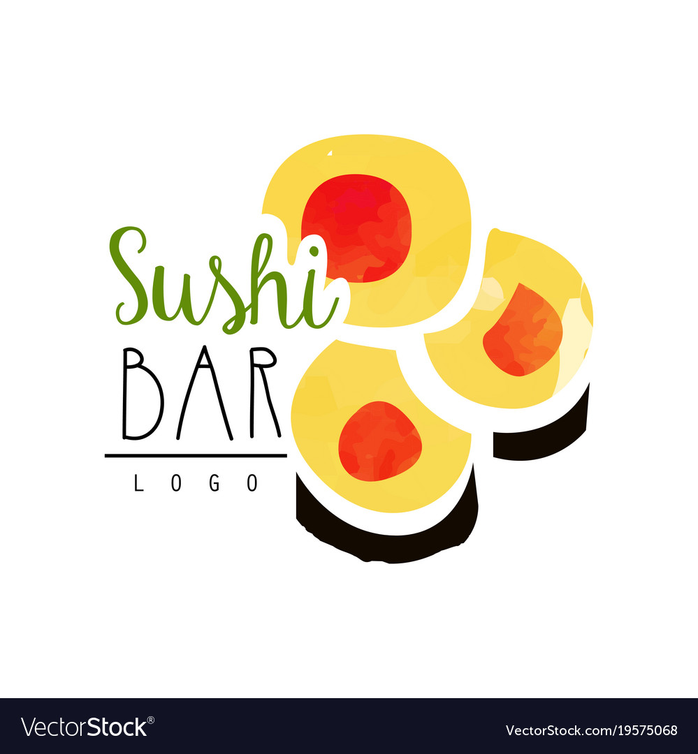 Sushi bar logo template japanese food label vector image