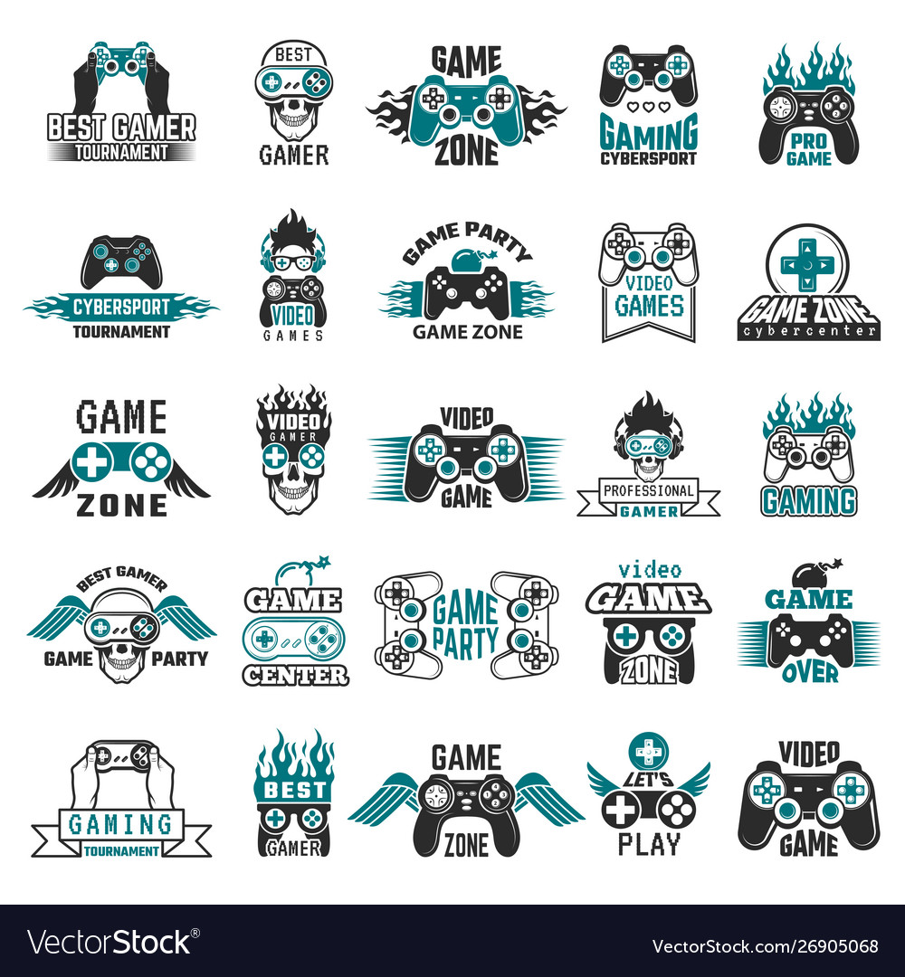 Video game labels gaming console cybersport logo