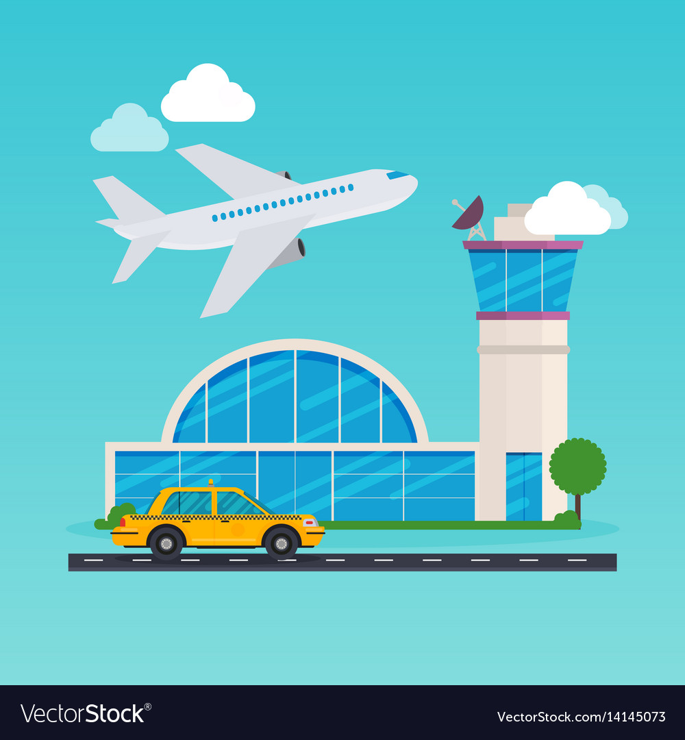 Airport area flat design modern concept