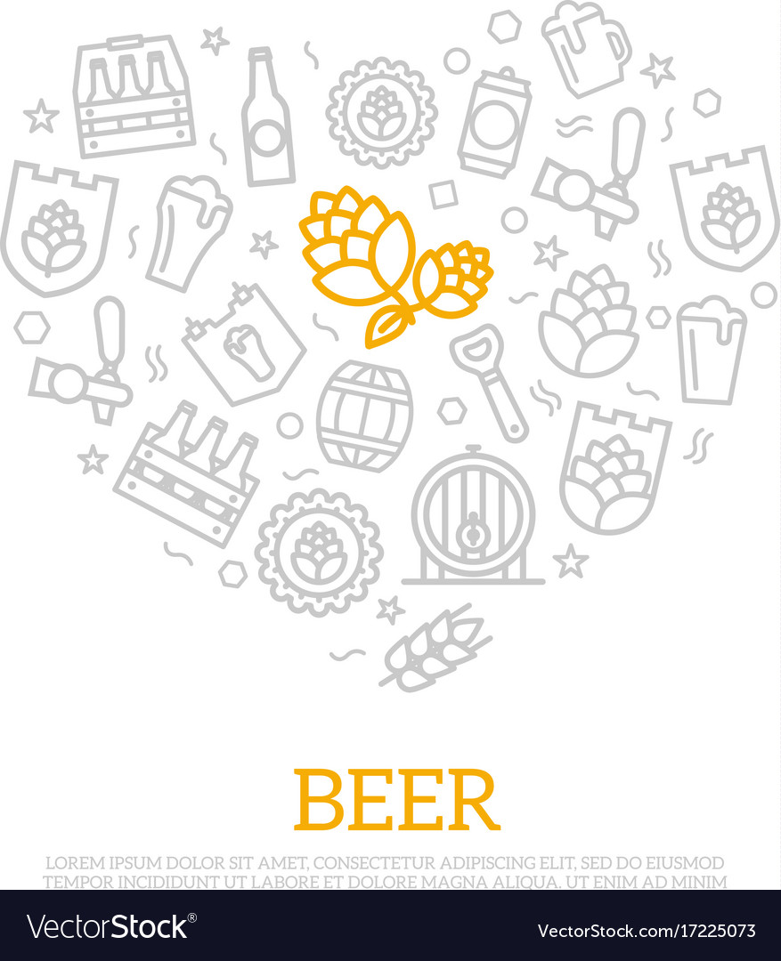 Beer thin line icons in heart shape design