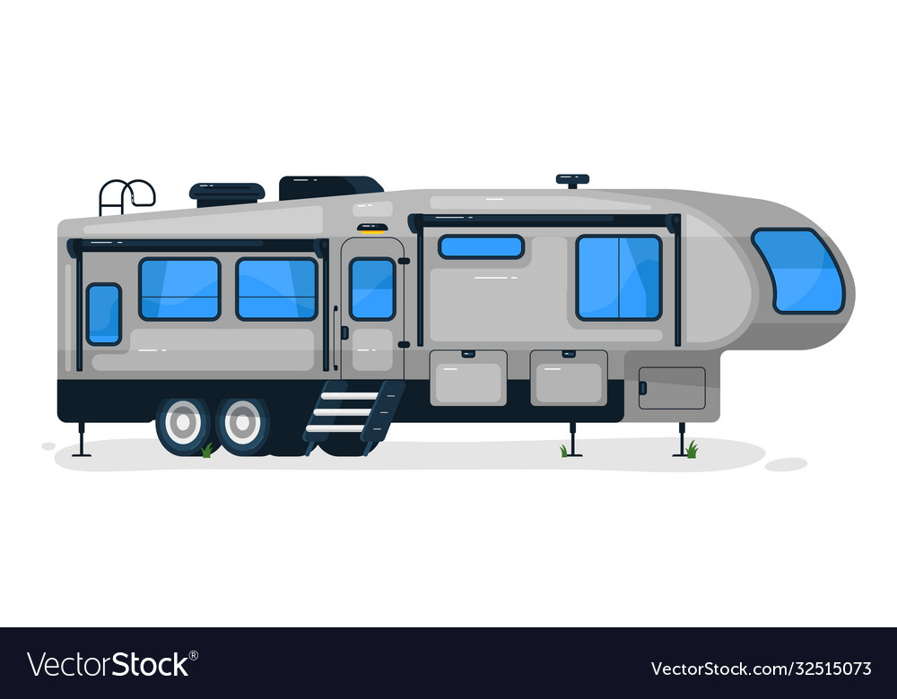 Big camping trailer isolated camper vehicle