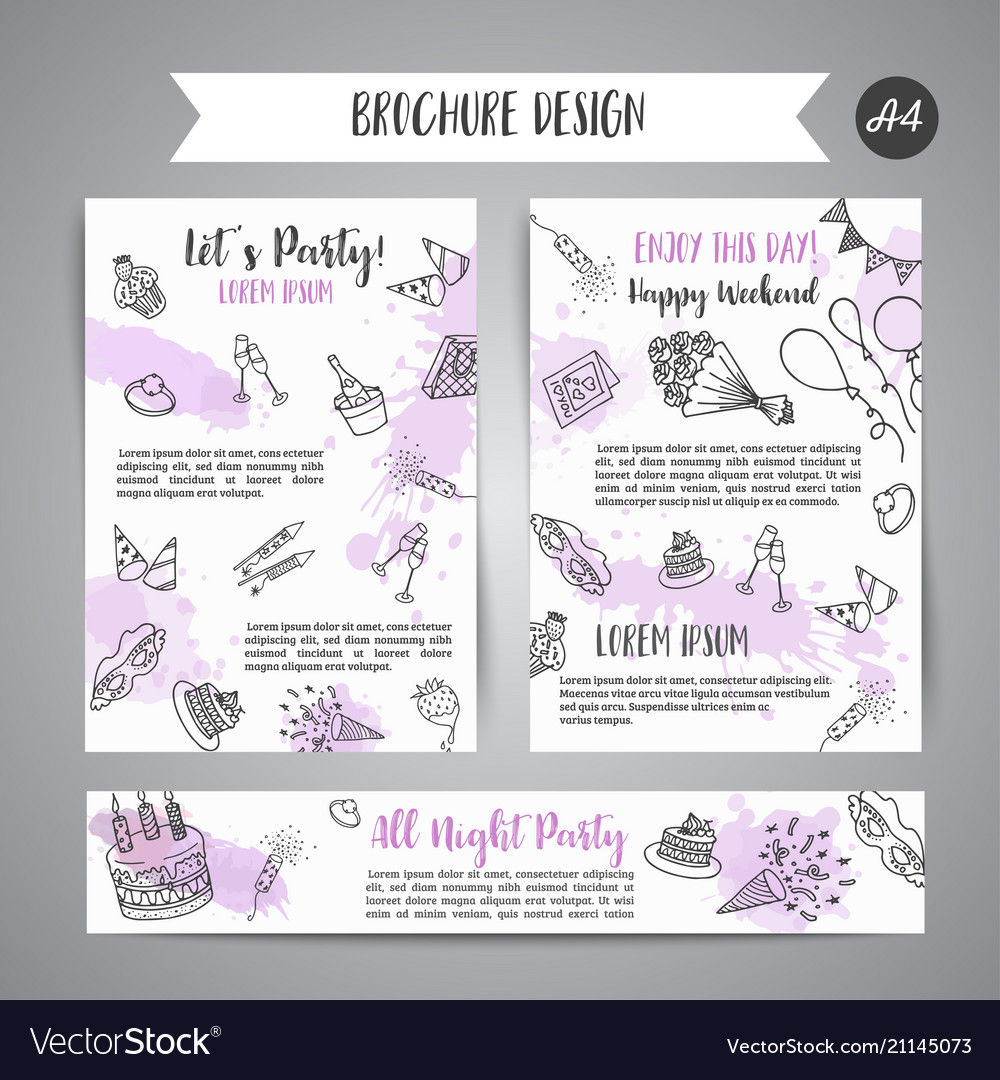 Birthday party doodle posters template