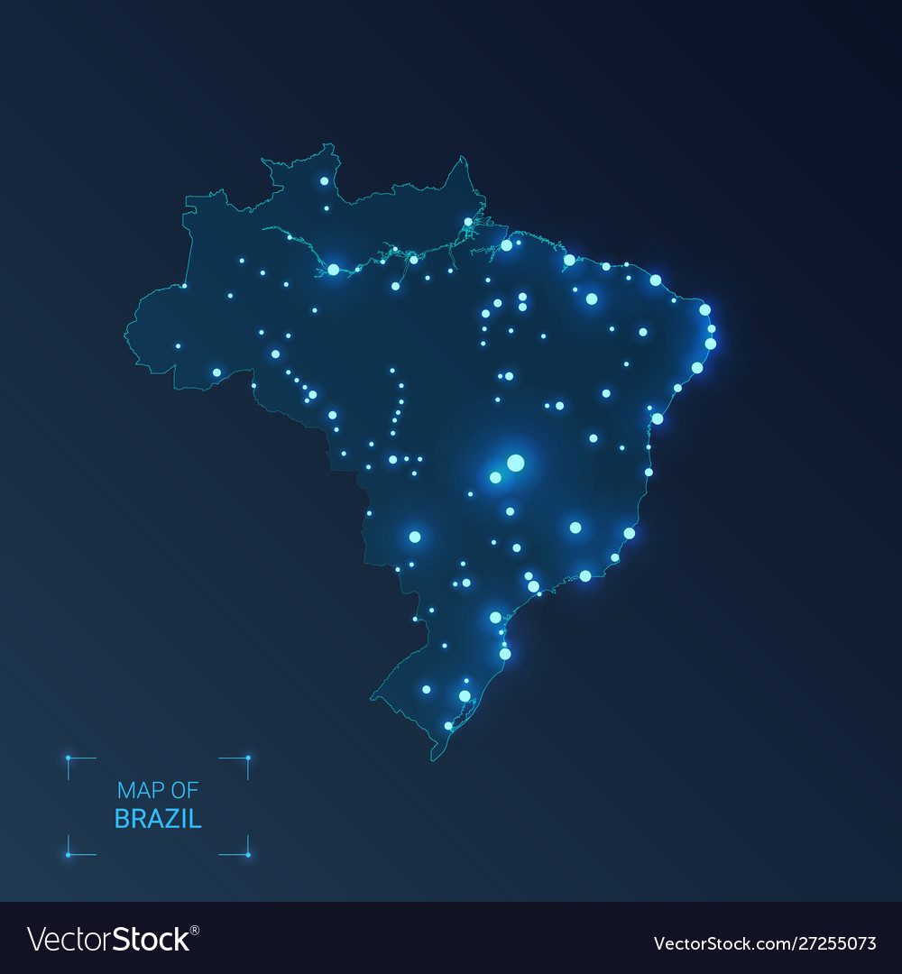 Brazil map with cities luminous dots - neon
