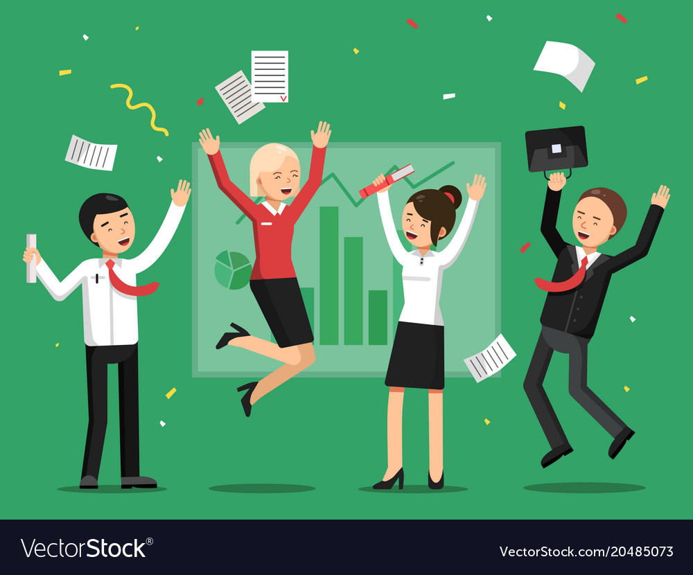 Business people celebrating success from big deal vector image