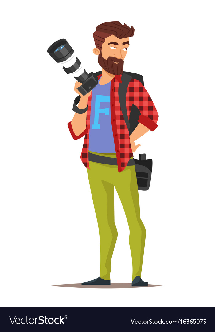 cartoon style character of photographer royalty free vector vectorstock