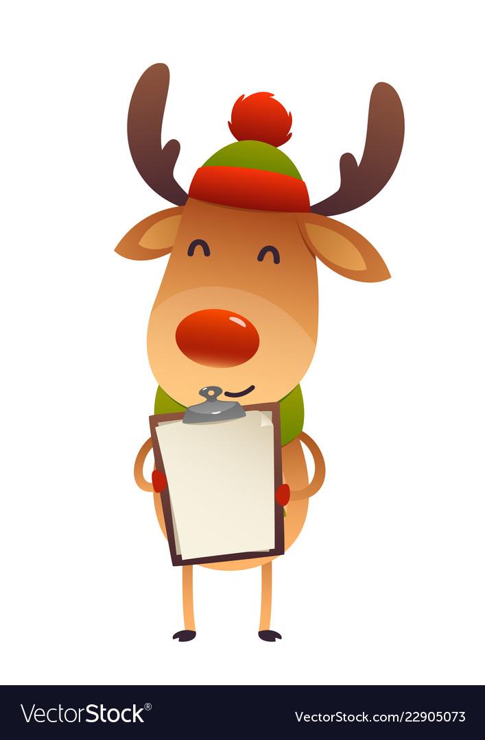 Christmas cute reindeer standing behind blank