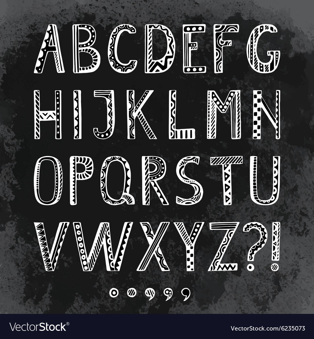 Fantasy hand drawn font in doodle style letters
