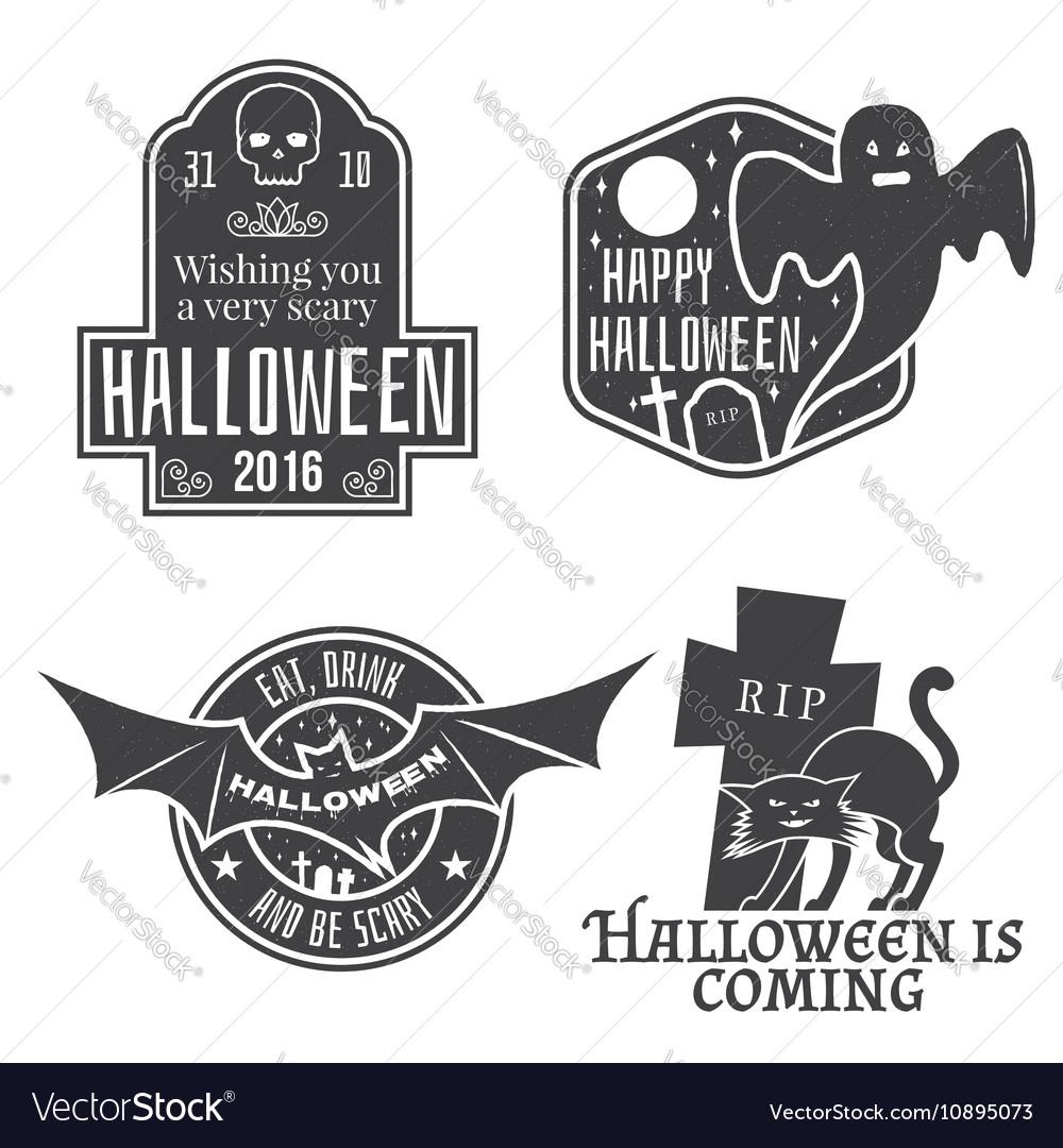 Halloween vintage badges emblems or labels