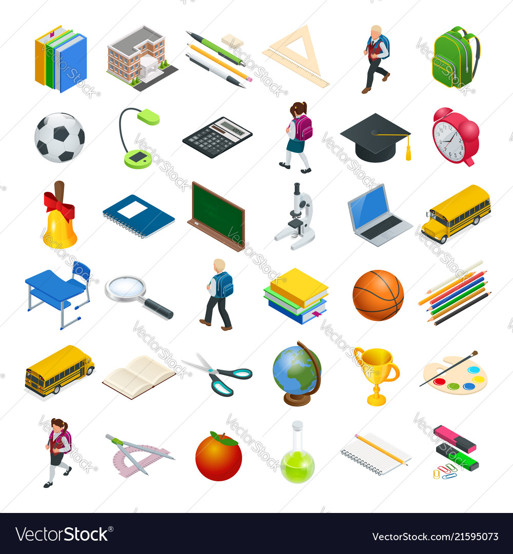 Isometric education icons set back to school