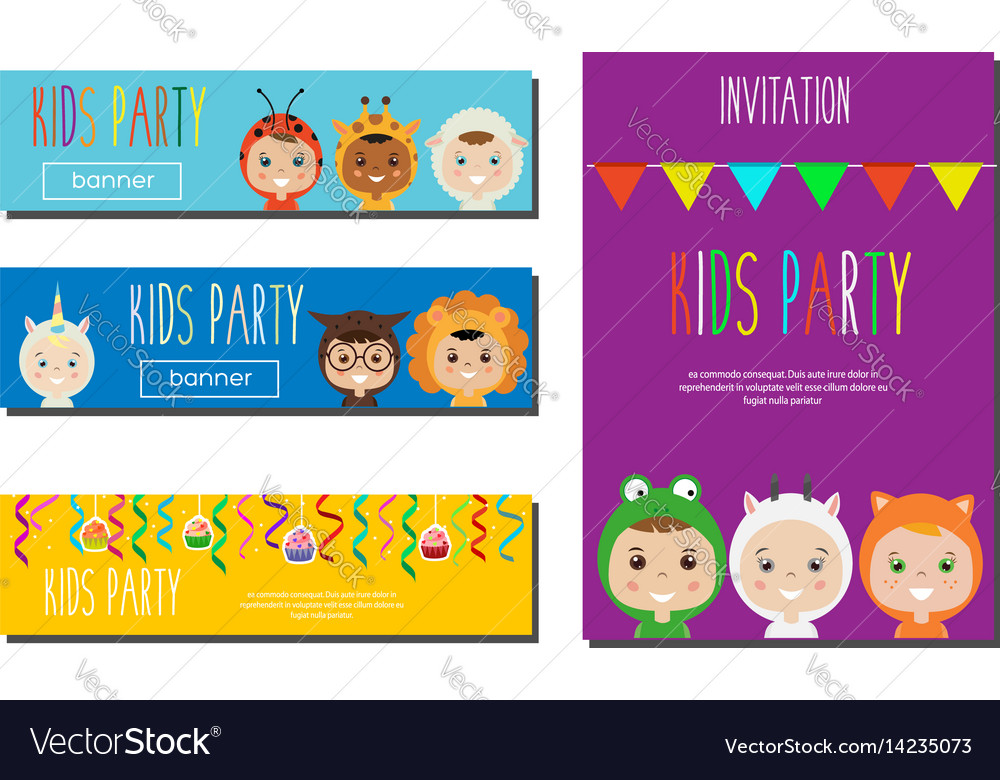 Kids party banners design template children in