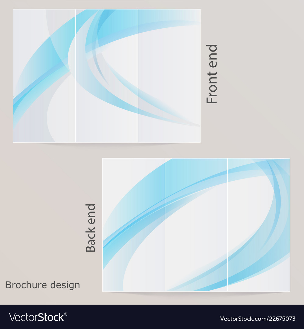 Layout triple brochure design with blue by waves