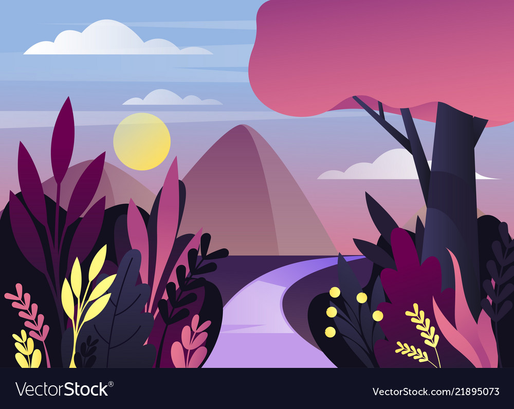 Morning or night nature panorama with mountain