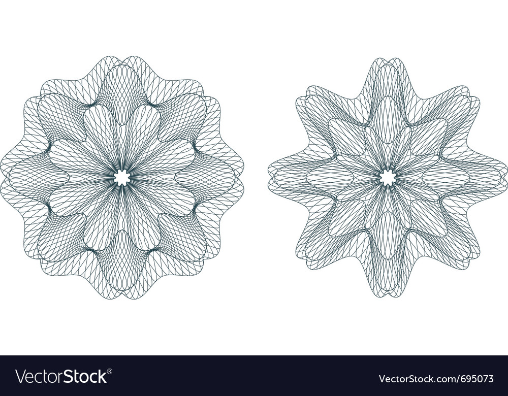 Set of green guilloche rosettes vector image