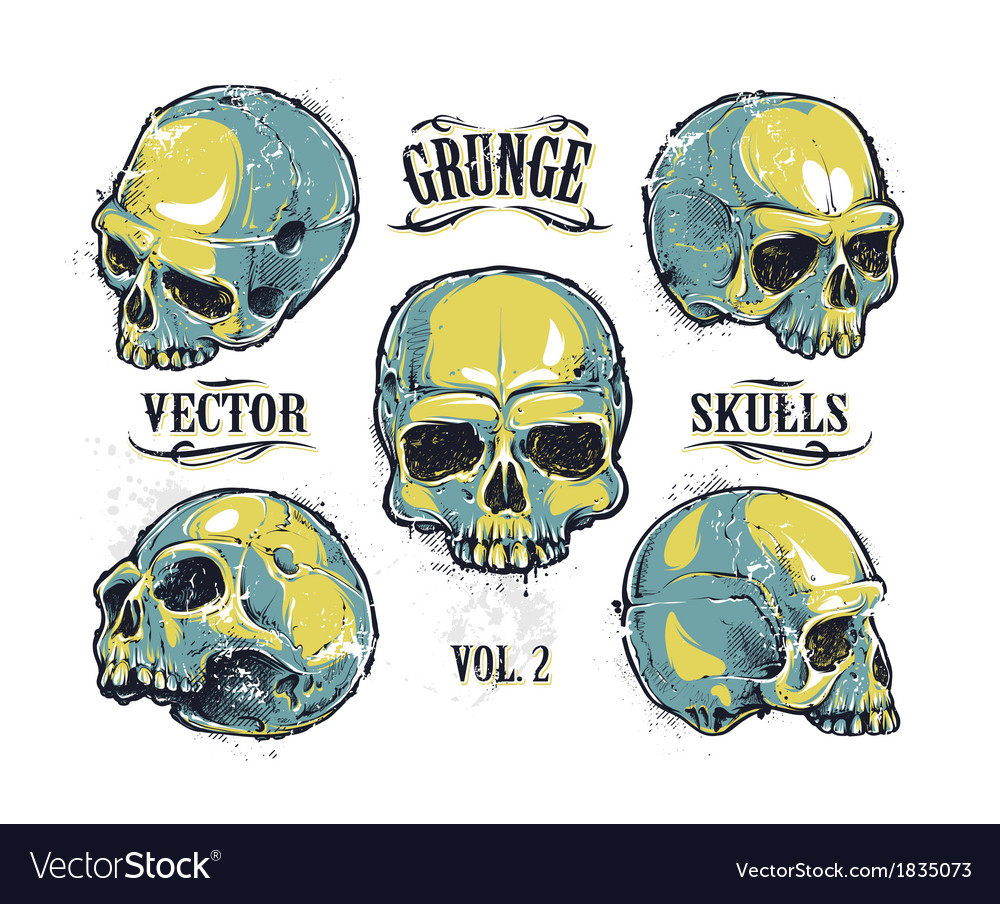 Skulls Hand Drawn Set 3