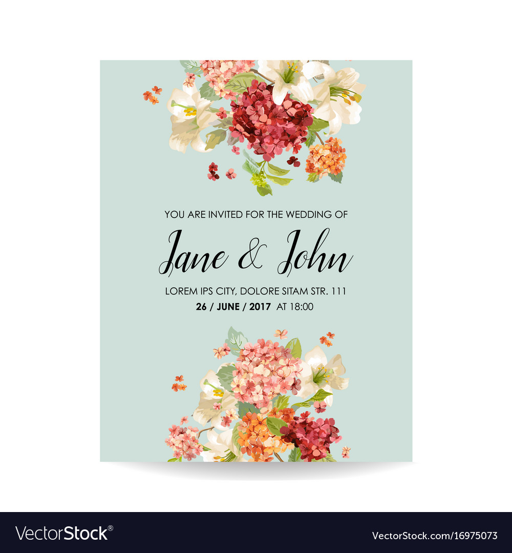 Wedding card with autumn vintage hortensia flowers