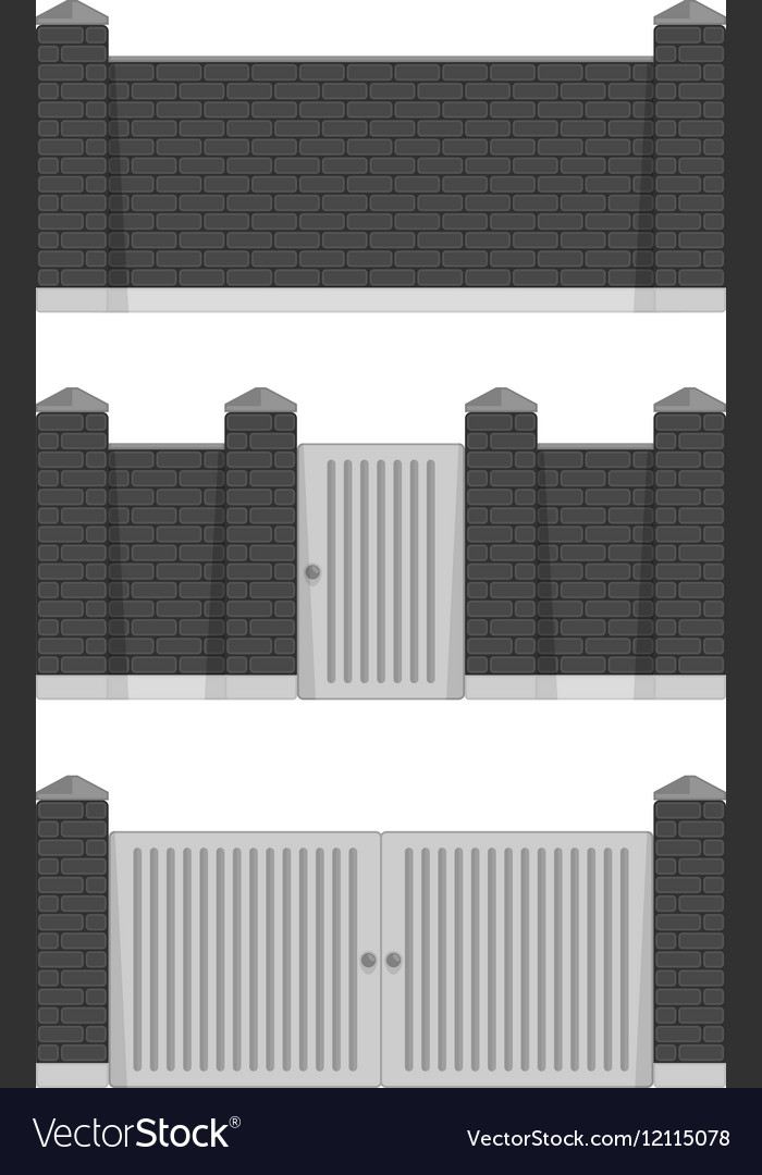 Black stone bricks fence vector image
