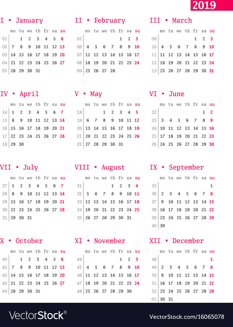 Calendar 2019 With Weeks Calendar for 2019 year with week numbers on white Vector Image