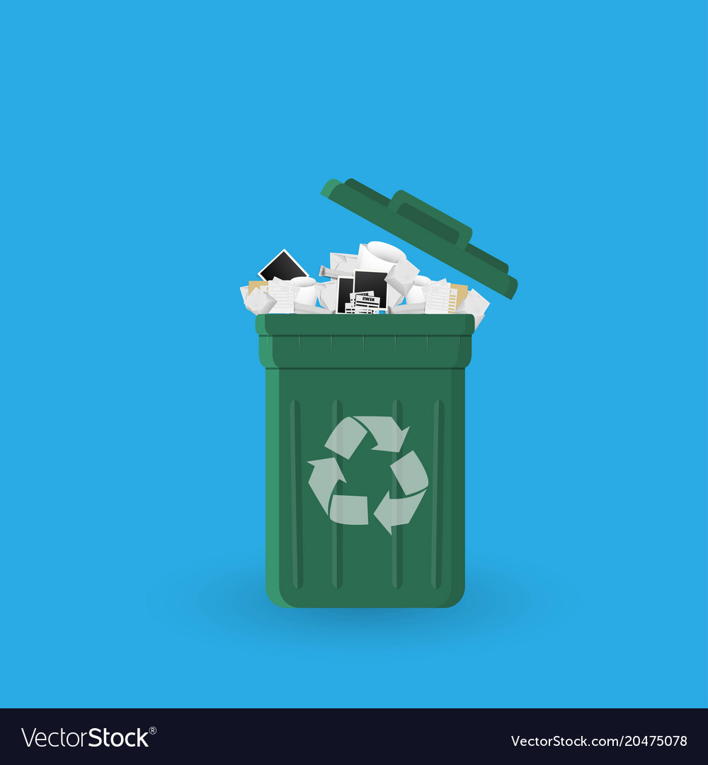 Cartoon Office Trash Recycle Bin For Garbage Bin Vector Image
