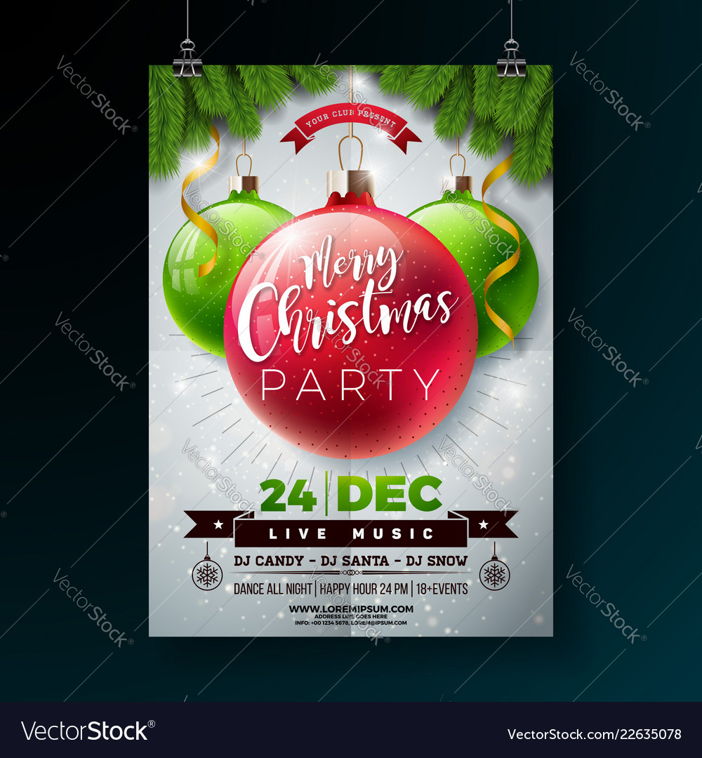 christmas party flyer with shiny royalty free vector image