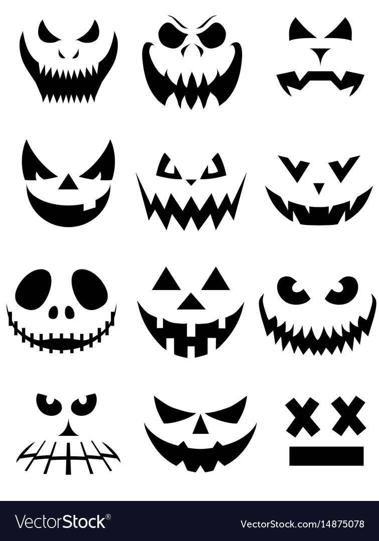 Collection Spooky Halloween Ghost And Pumpkin Vector Image