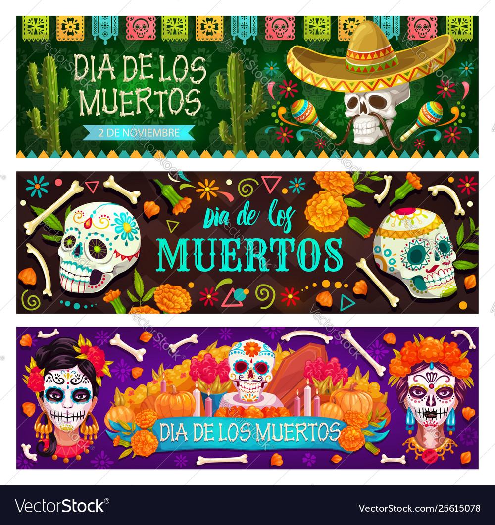 Dia de los muertos mexican holiday skull and bones