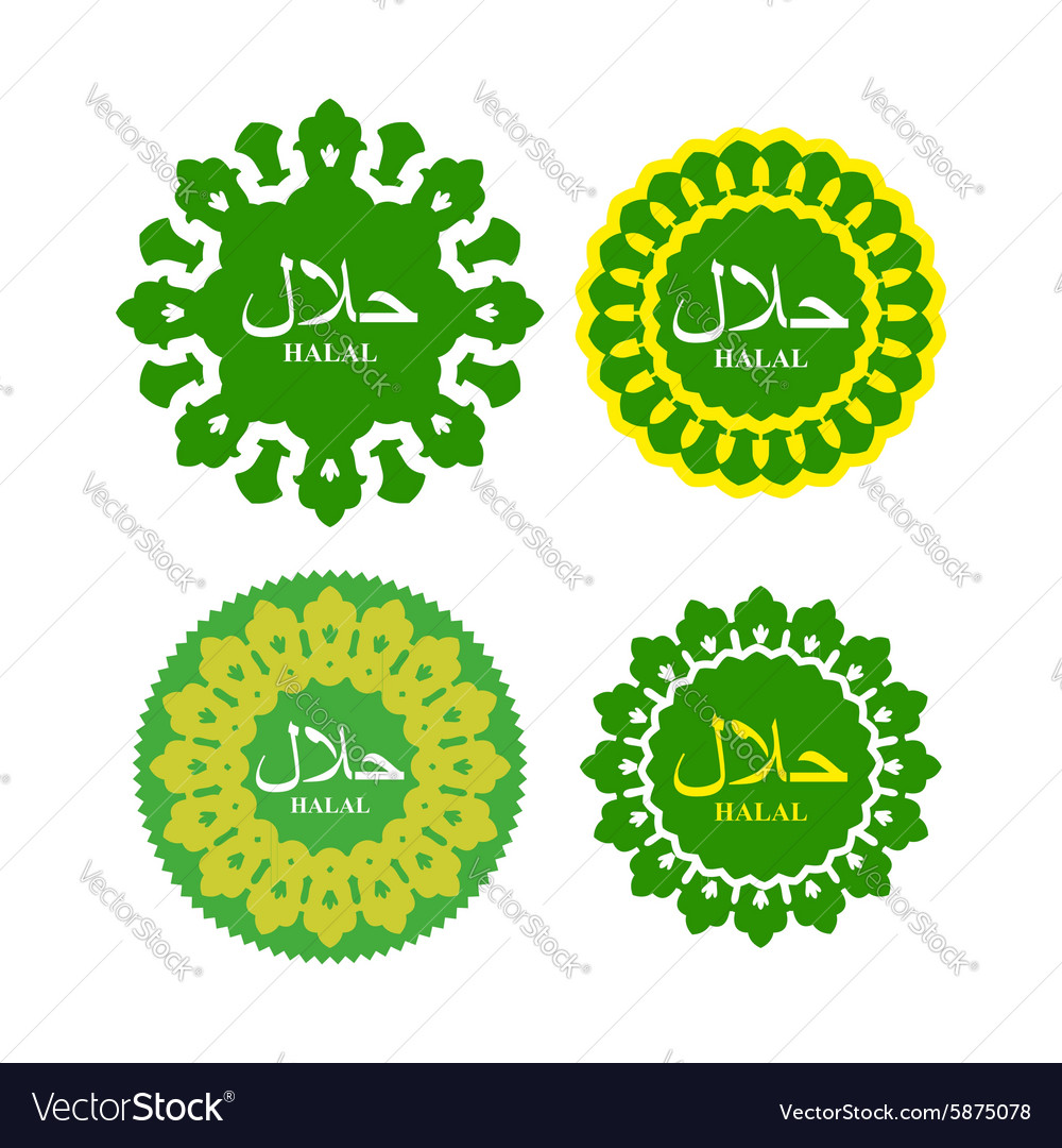 Halal logo or seal for products National Islamic vector image
