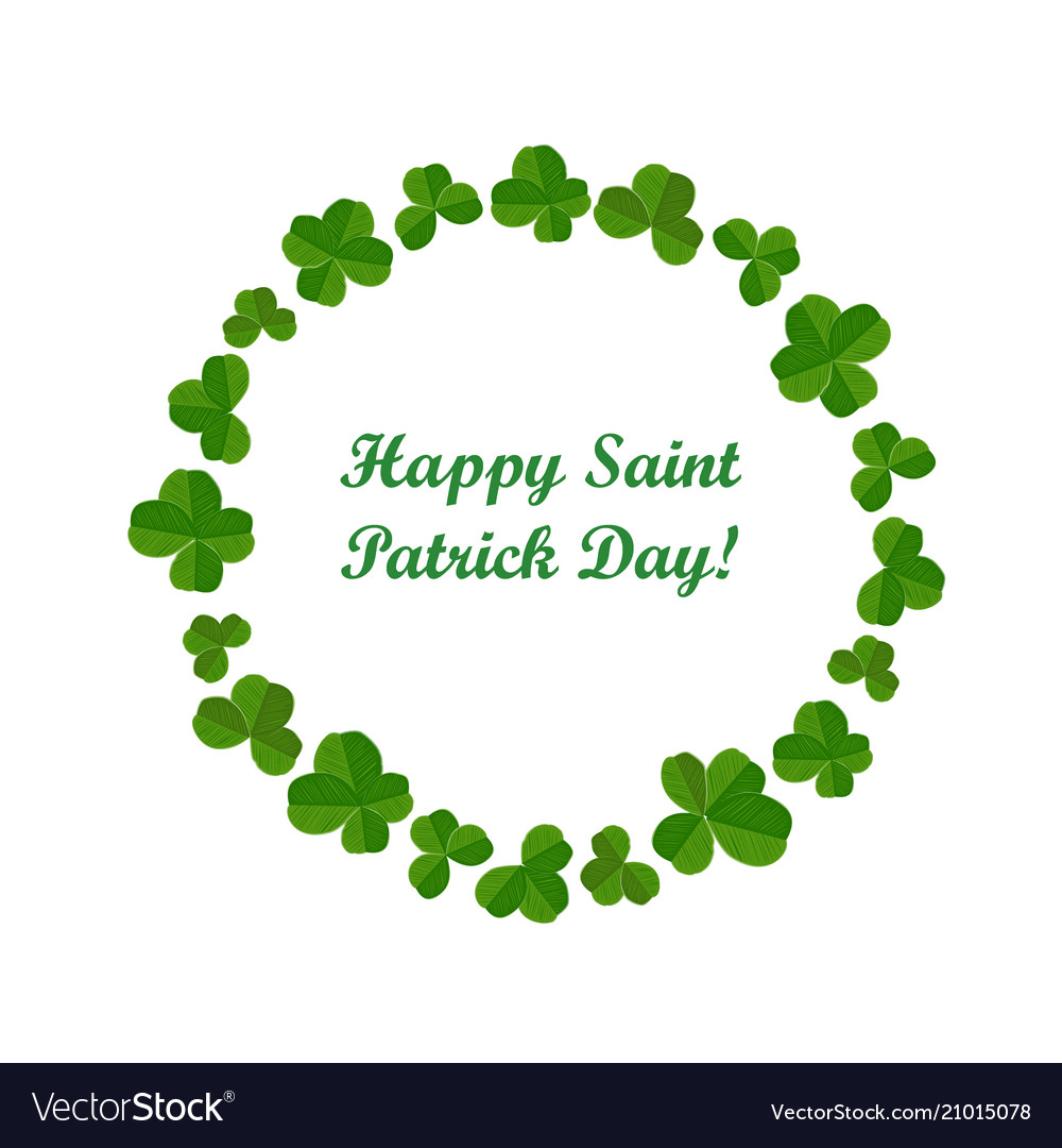 Happy stpatricks day card with cute shamrock vector