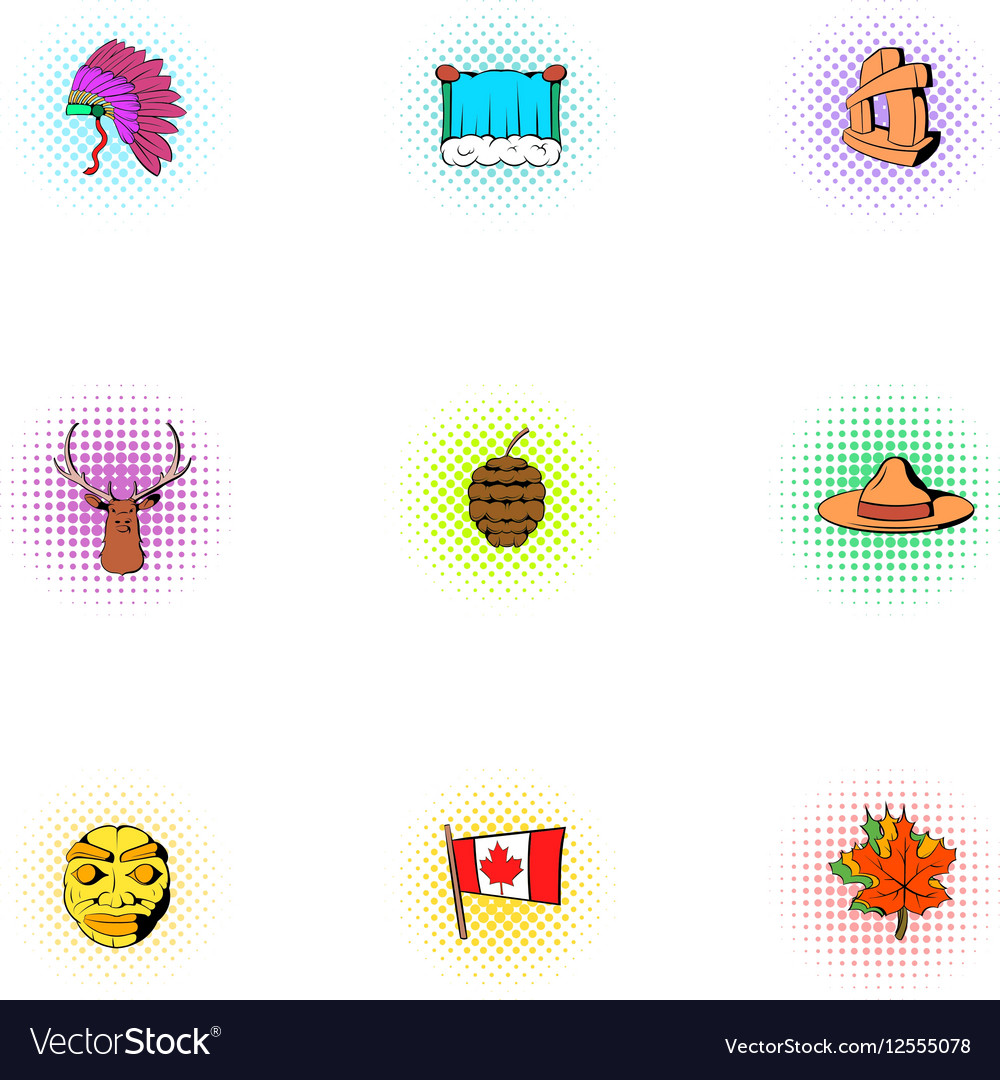 Holiday in Canada icons set pop-art style vector image