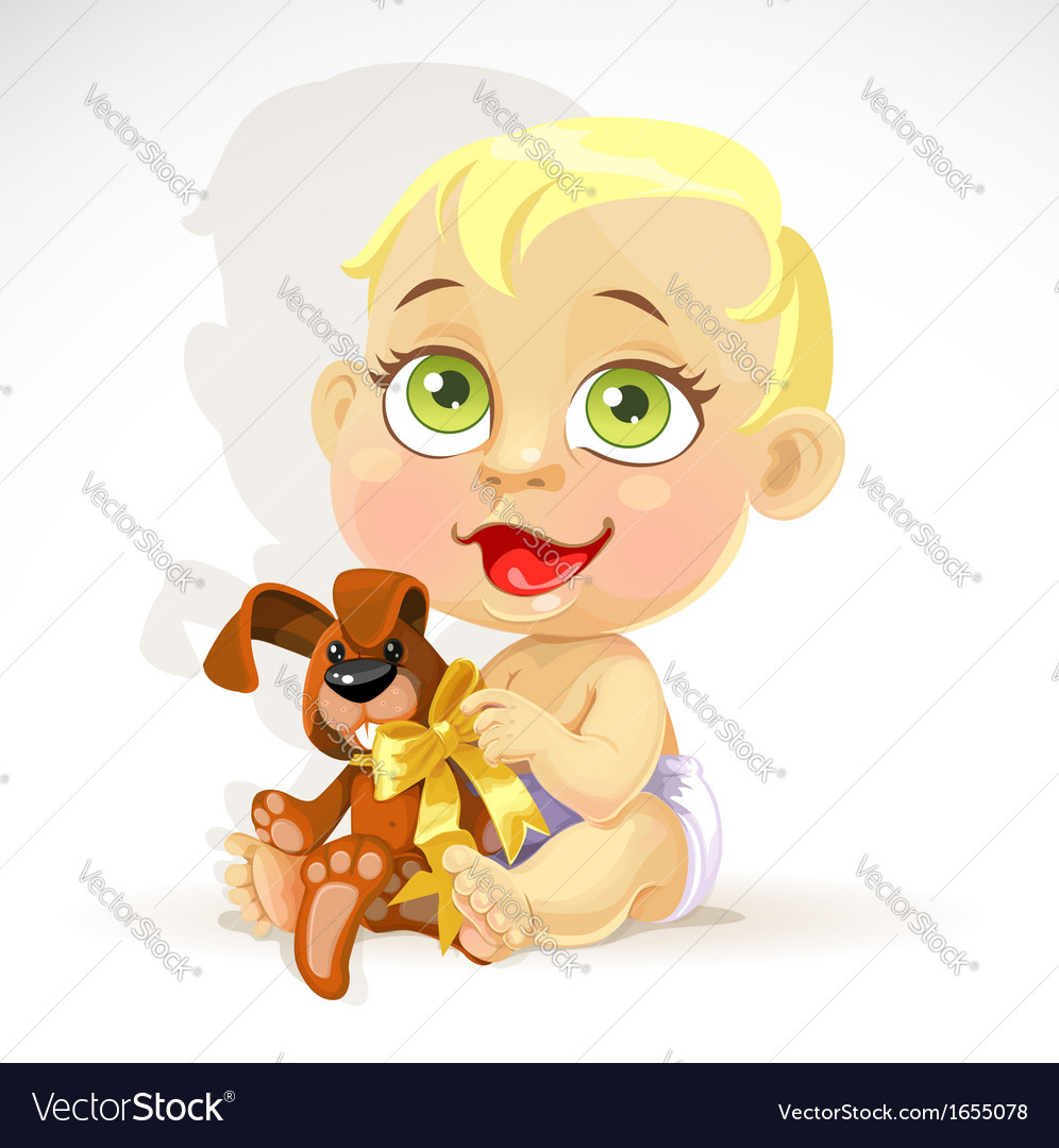 Little baby in a diaper with plush rabbit vector image
