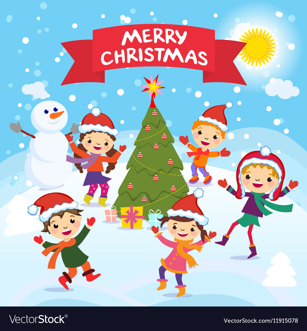 merry christmas 2017 winter fun cheerful kids vector image