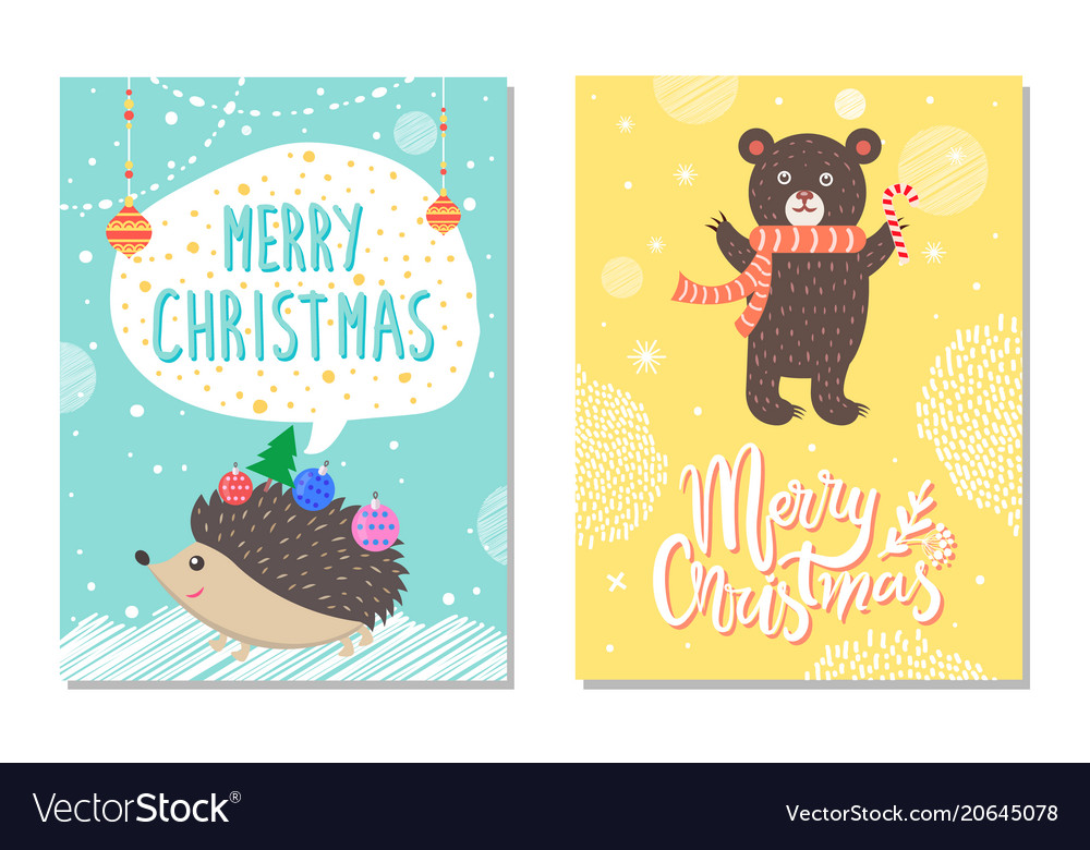 Merry christmas wishes from hedgehog bear candy