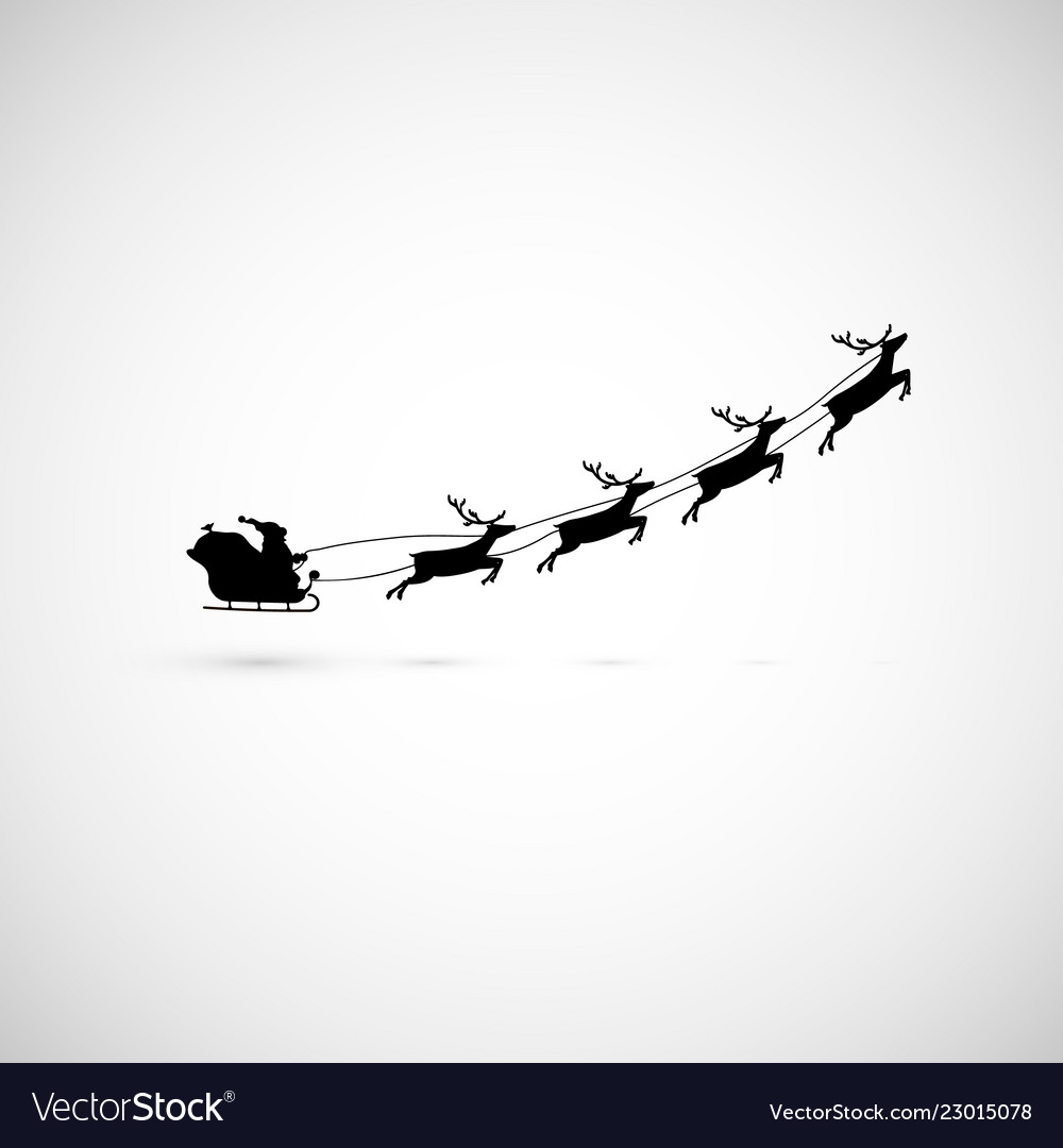 Santa on a sleigh with reindeers fly up