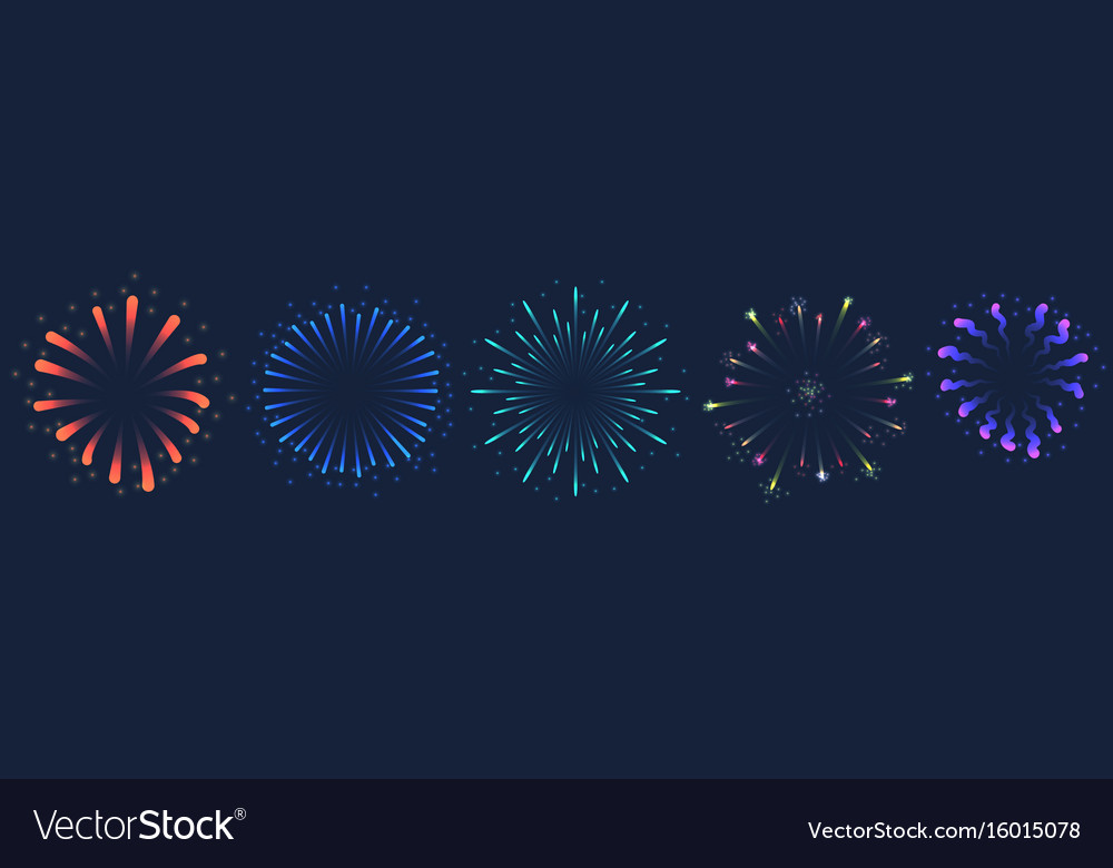 Set of colorful firework on