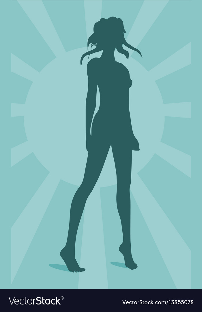 Sexy woman silhouette on sun burst background