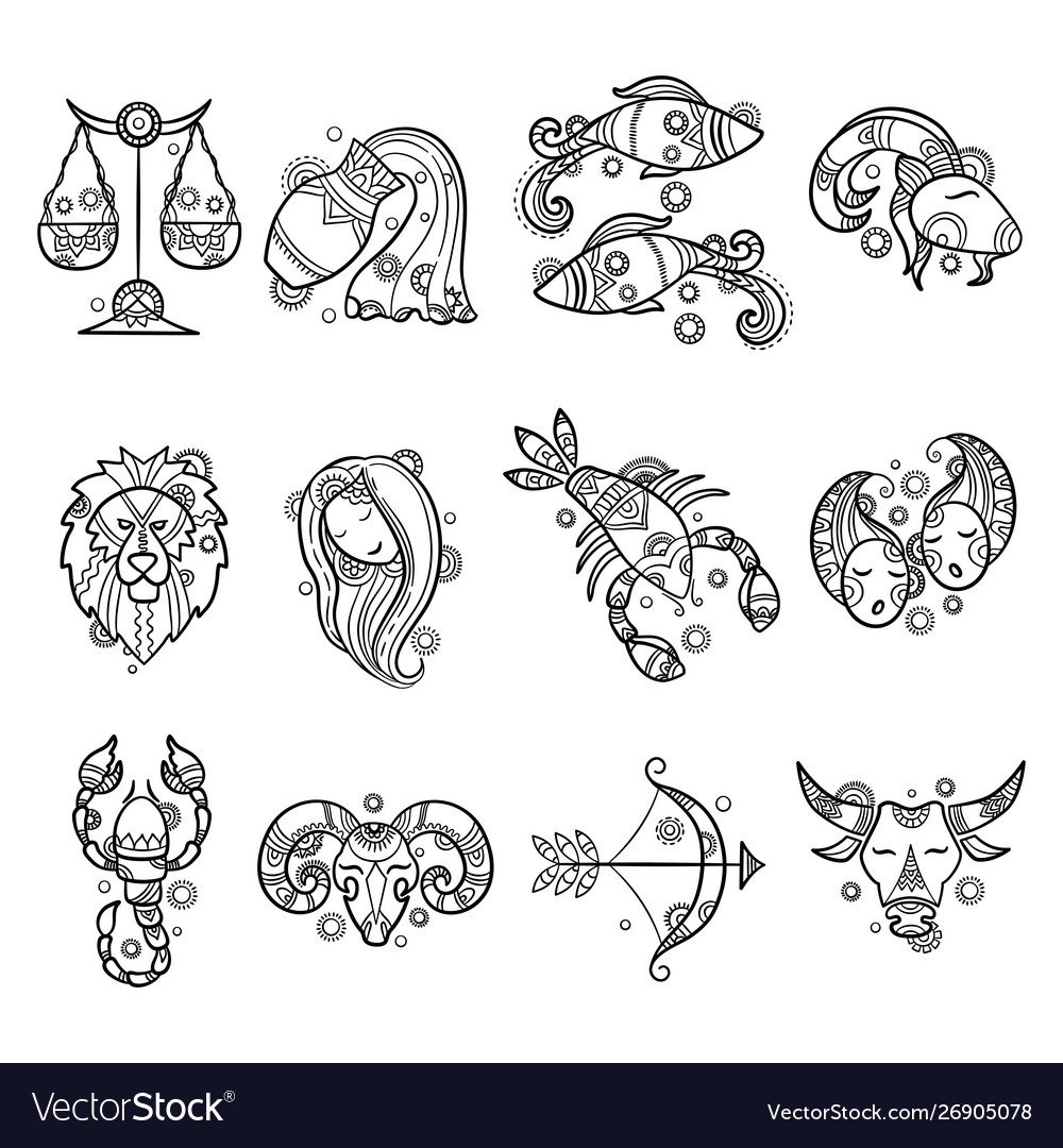 Zodiac characters astrology horoscope signs