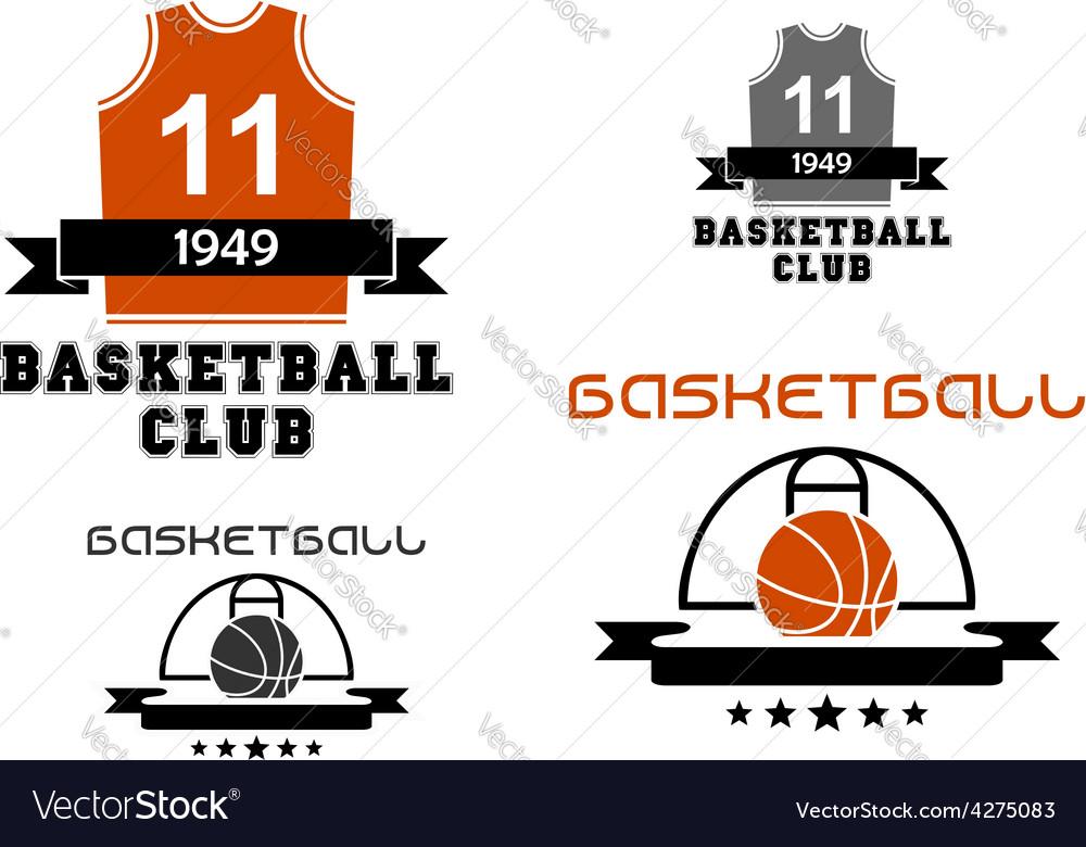 Basketball emblems with court ball jersey