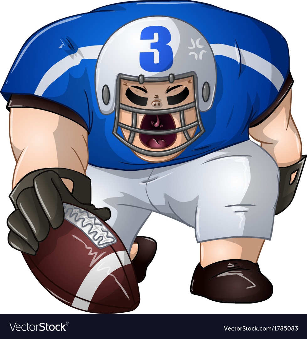 Blue White Football Player Kneels and Holds Ball
