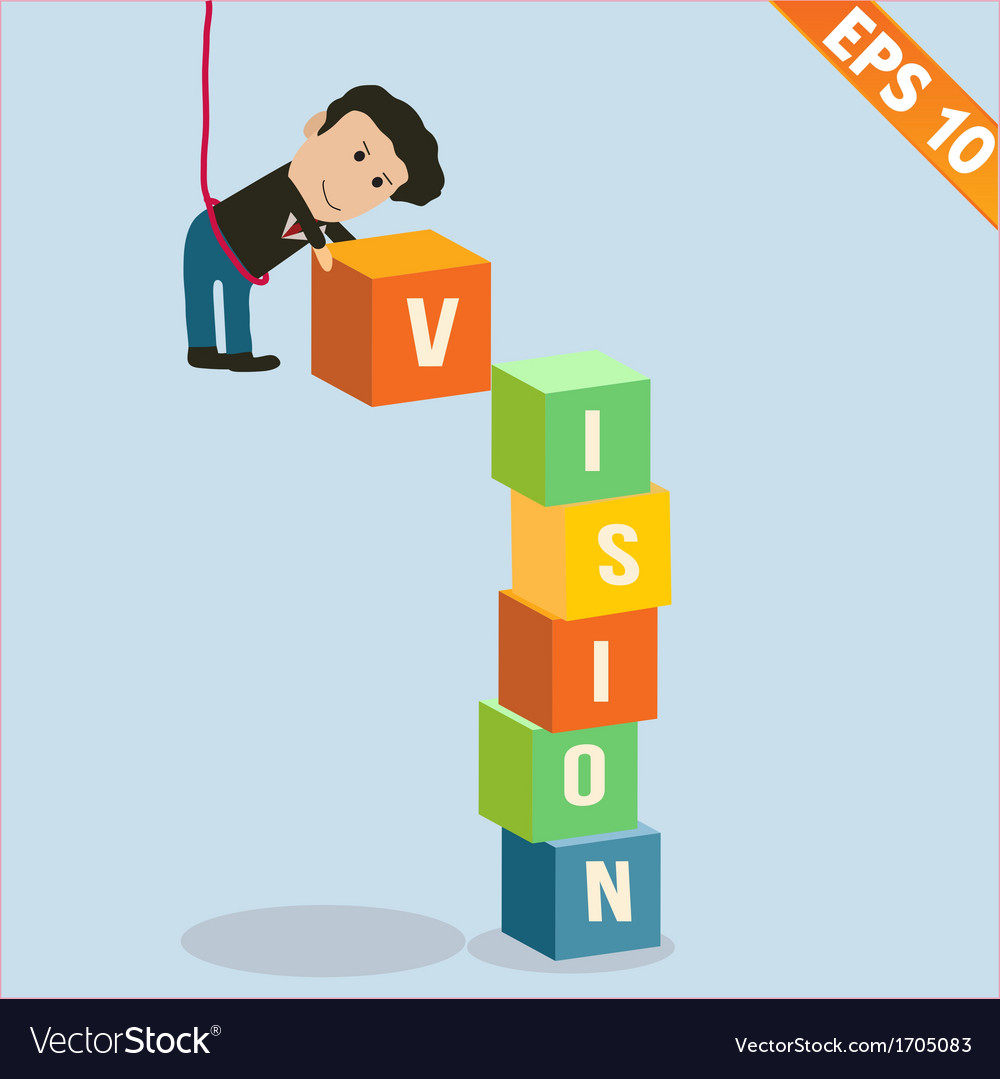 Cartoon Businessman stacking vision box
