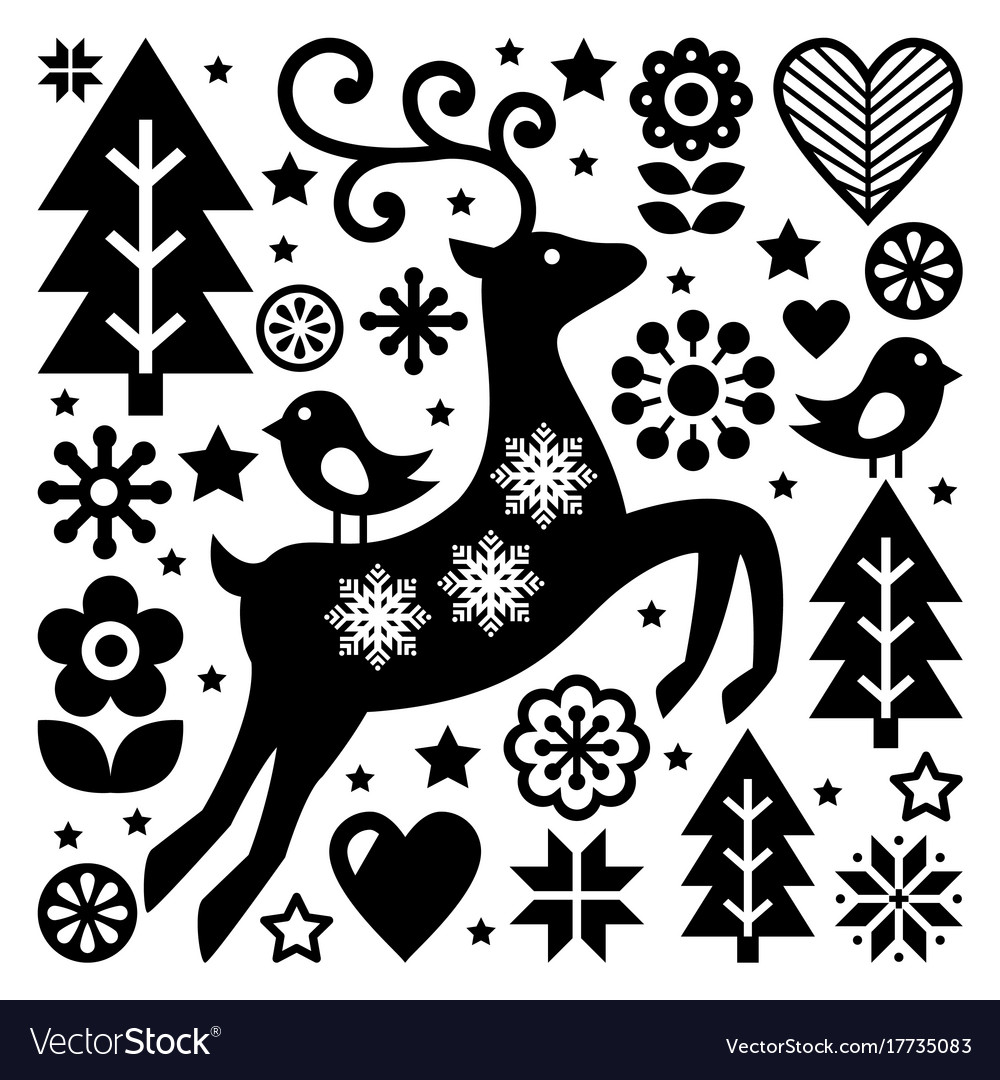 Christmas black and white folk pattern sca