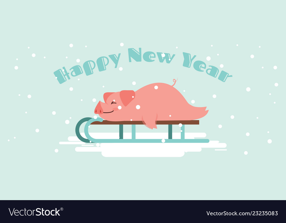 Cute lazy pig lying on a winter slide merry