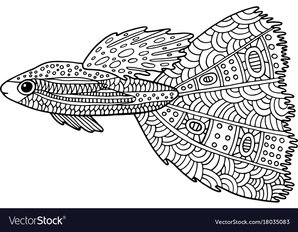 Doodle Zentangle Fish Coloring Page With Marine Vector Image