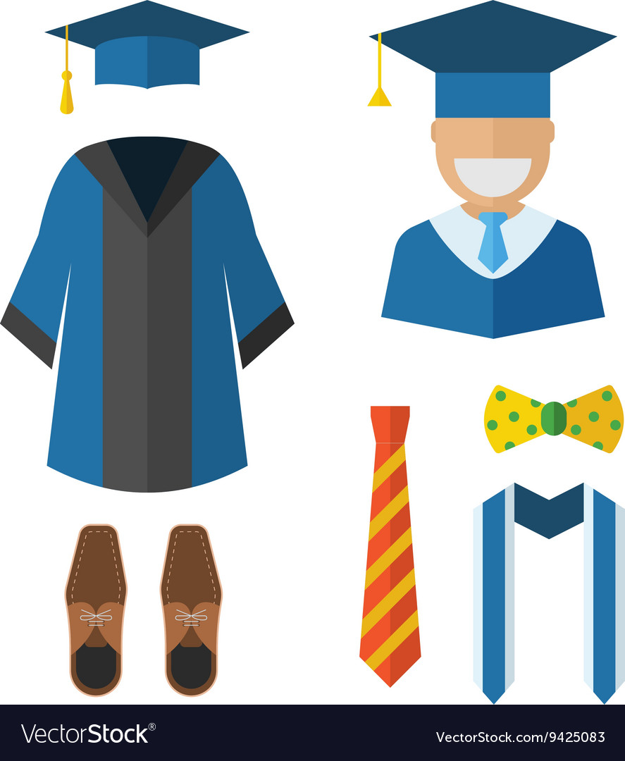 Graduation Clothing and Accessories Icons Vector Image