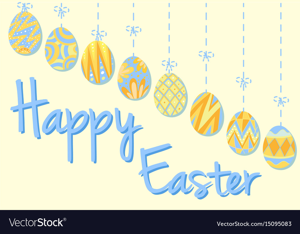 Happy easter poster with eggs in blue and yellow