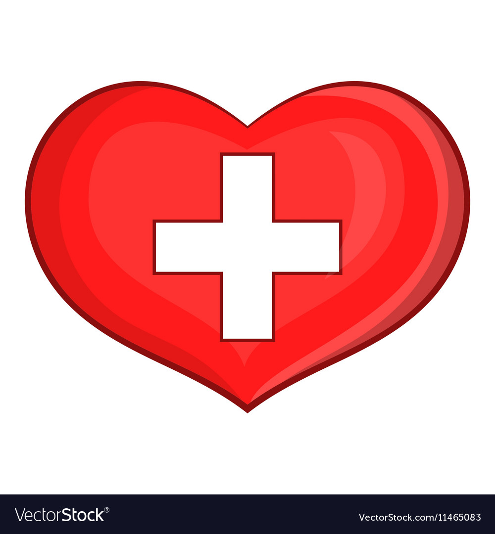 Heart with Swiss flag icon cartoon style